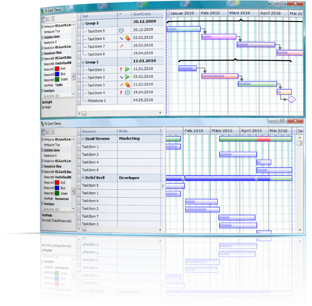 Click to view KS-Gantt Control for DotNet WinForms 6.2.0 screenshot